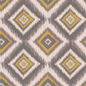 Tribal Diamond Ikat-Yellow & Gray