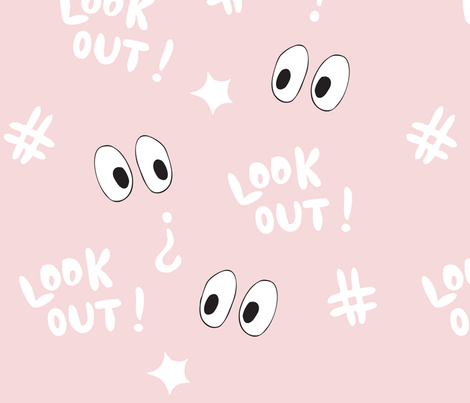 look out!  (pink) fabric by hotdogjenny on Spoonflower - custom fabric