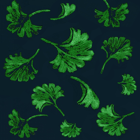 Gingko on Navy fabric by paragonstudios on Spoonflower - custom fabric