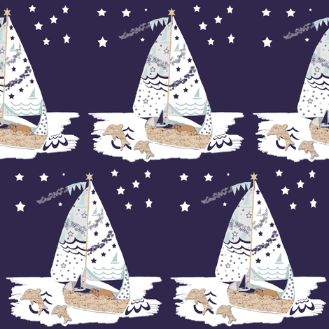 At midnight RJ sailed the Ocean Blue fabric by karenharveycox on Spoonflower - custom fabric