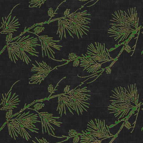 pine - green/brown on black canvas fabric by materialsgirl on Spoonflower - custom fabric