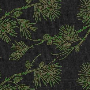 pine - green/brown on black canvas