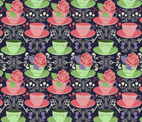 Tea Time at Mansfield Park fabric by sara_berrenson on Spoonflower - custom fabric