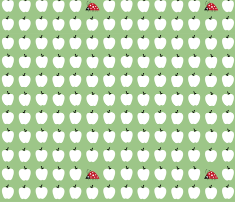 Apples and one ladybird. Large.  fabric by halfpinthome on Spoonflower - custom fabric