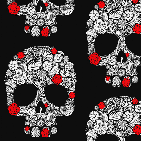 Skull Art fabric by flixpix on Spoonflower - custom fabric