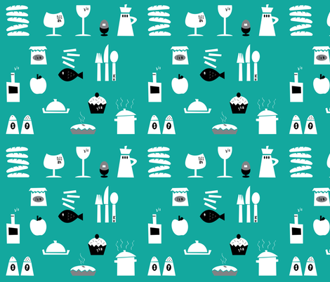 Kitchenalia in Teal. fabric by halfpinthome on Spoonflower - custom fabric
