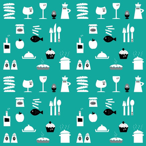 Kitchenalia in Teal.