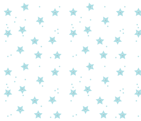 Happy Stars Blue. fabric by halfpinthome on Spoonflower - custom fabric