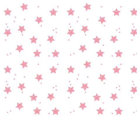 Happy Stars in Pink. fabric by halfpinthome on Spoonflower - custom fabric