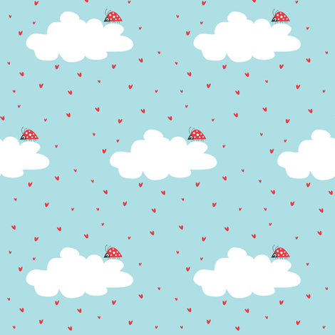 It's Raining Hearts. fabric by halfpinthome on Spoonflower - custom fabric