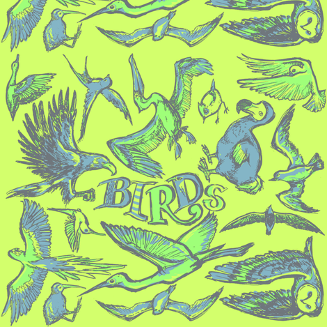 Birds_groen fabric by loeff on Spoonflower - custom fabric