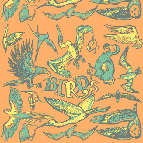 Birds_oranje fabric by loeff on Spoonflower - custom fabric