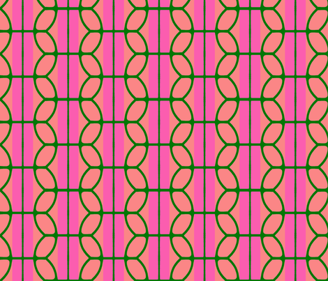 KB's B-Ball Stripes v2     -Pinks&Green fabric by fireflower on Spoonflower - custom fabric