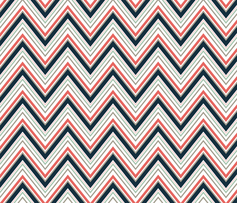 CoralNavyGreyChevron fabric by mgterry on Spoonflower - custom fabric