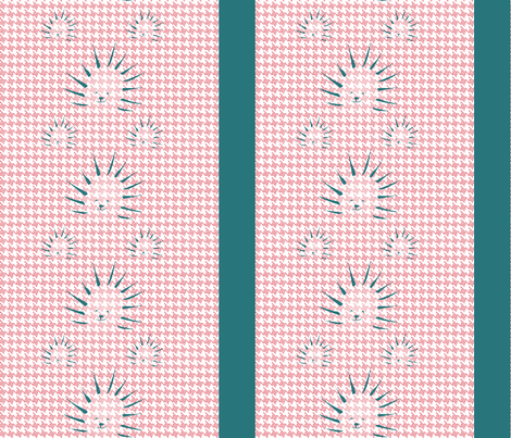 Porcupine_Houndstooth_Cherry_Teal fabric by alchemiedesign on Spoonflower - custom fabric