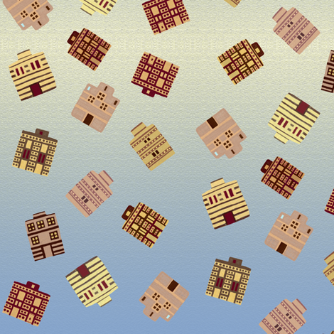 Tossed Minoan houses fabric by su_g on Spoonflower - custom fabric
