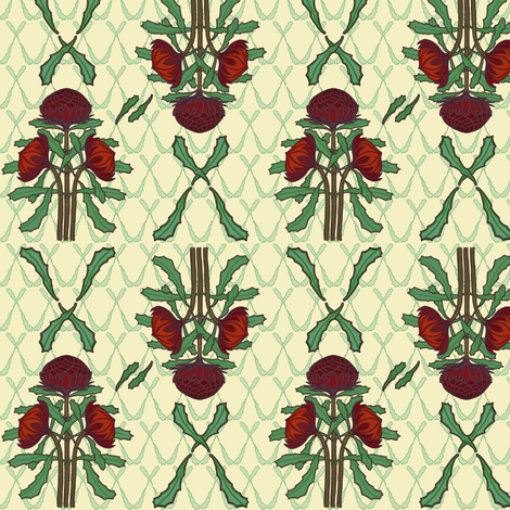 Dark red waratahs and crossed leaves on ivory by Su_G fabric by su_g on Spoonflower - custom fabric