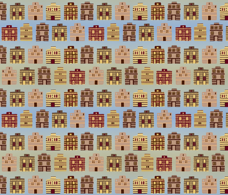 Minoan houses by sea and strand fabric by su_g on Spoonflower - custom fabric