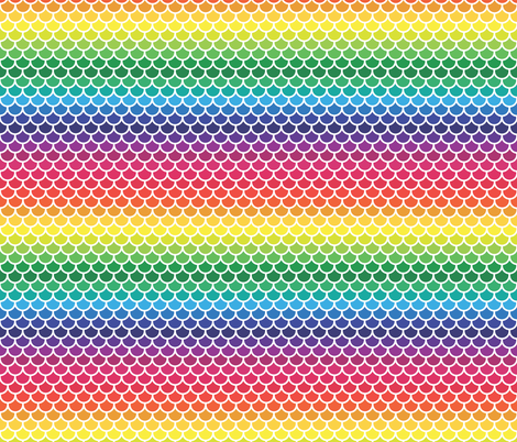 Regular Feather Scales in Rainbow fabric by little_fish on Spoonflower - custom fabric