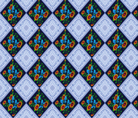 diamonds blue fabric by krs_expressions on Spoonflower - custom fabric