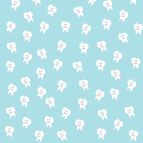 Tooth Fairy on Blue fabric by halfpinthome on Spoonflower - custom fabric
