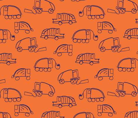LaraGeorgine_Garbage_Trucks_oRANGE fabric by larageorgine on Spoonflower - custom fabric