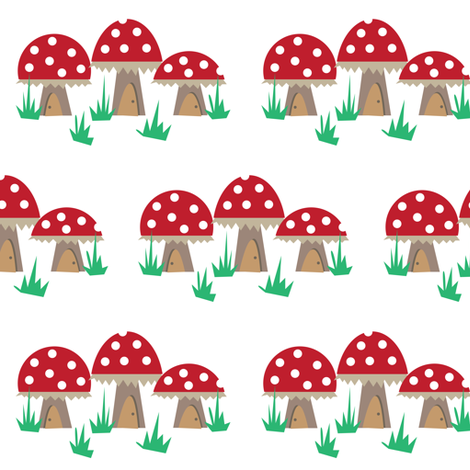 Mushroom Houses. fabric by halfpinthome on Spoonflower - custom fabric