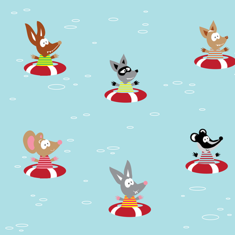 Furry Friends Afloat. fabric by halfpinthome on Spoonflower - custom fabric