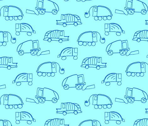 LaraGeorgine_Garbage_Trucks_blue fabric by larageorgine on Spoonflower - custom fabric