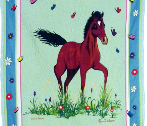 Foal_and_Butterflies_Quilt_top