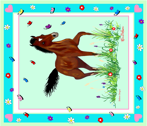 Foal_and_Butterflies_Quilt_top fabric by dehaan_designs on Spoonflower - custom fabric
