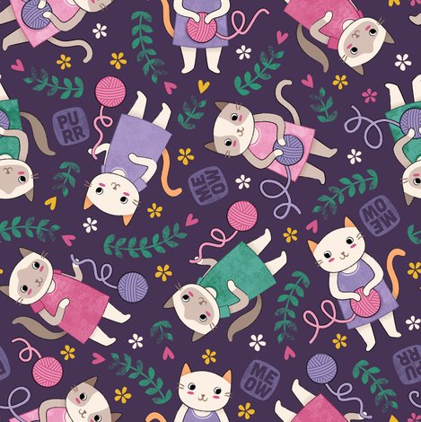 Playful Kittens fabric by candytree on Spoonflower - custom fabric