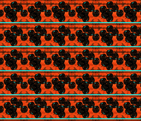 Black Cherries on Orange with Aqua stripes fabric by missmorice on Spoonflower - custom fabric