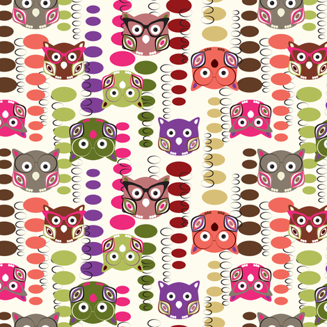 Falling Owls fabric by mag-o on Spoonflower - custom fabric