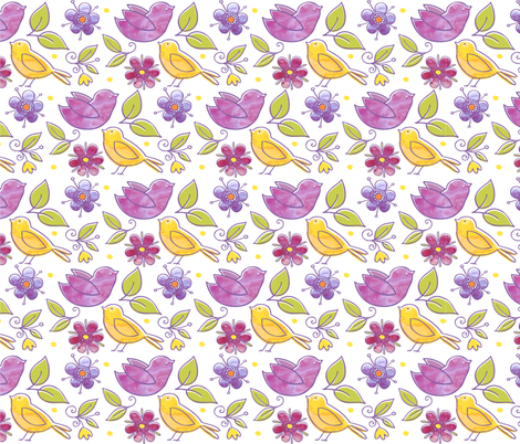 birds and blooms fabric by monalila on Spoonflower - custom fabric