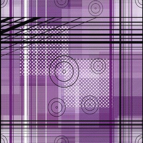 Purple and Pink Plaid Squares with Lines and Circles