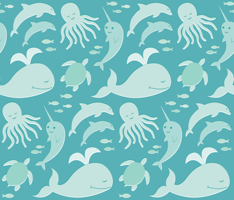 Baby Sea Buddies fabric by jsteury on Spoonflower - custom fabric