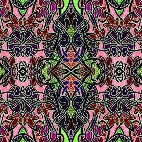 Contemporary Stained Glass (pink and lime)