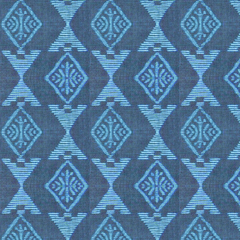Native Sun - blue fabric by materialsgirl on Spoonflower - custom fabric