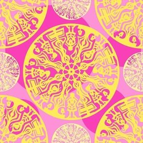 pink & yellow paper cut
