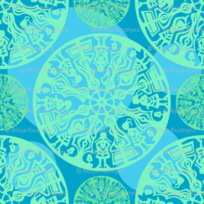 blue and green polka dot paper cut