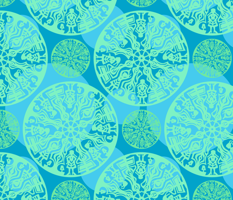 blue and green polka dot paper cut fabric by doiknowyou on Spoonflower - custom fabric