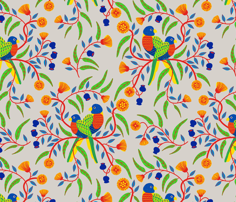 Rainbow Lorikeets fabric by yellowstudio on Spoonflower - custom fabric