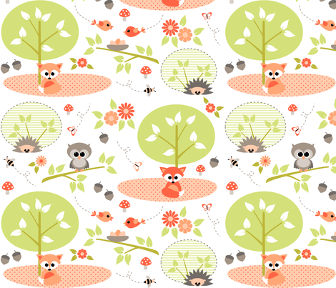 Woodland babies fabric by heleenvanbuul on Spoonflower - custom fabric