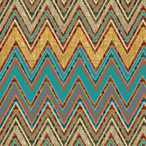 Chevron Rust and Blue textures fabric by joanmclemore on Spoonflower - custom fabric