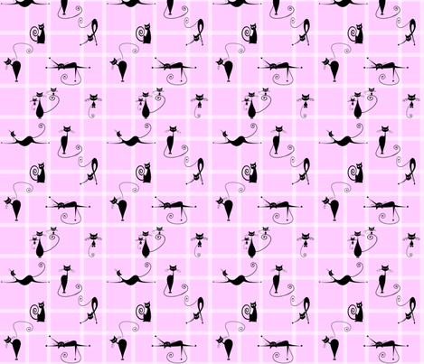 checkered pink cats fabric by krs_expressions on Spoonflower - custom fabric
