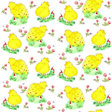 Spring Chicks fabric by countrygarden on Spoonflower - custom fabric