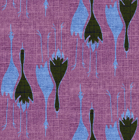 Crane Mates - lavender, blue/grey, charcoal fabric by materialsgirl on Spoonflower - custom fabric