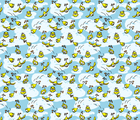 Playful Baby Owls - bright yellow/gold with clouds fabric by martaharvey on Spoonflower - custom fabric