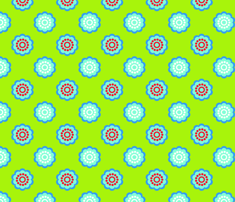 Bright Charteuse Green Floral fabric by curlywillowco on Spoonflower - custom fabric
